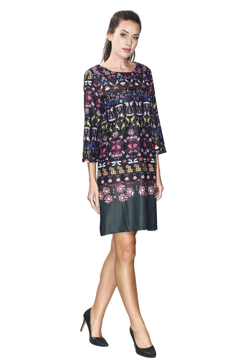 DRESS WITH FANTAISY PRINTED PATTERNS