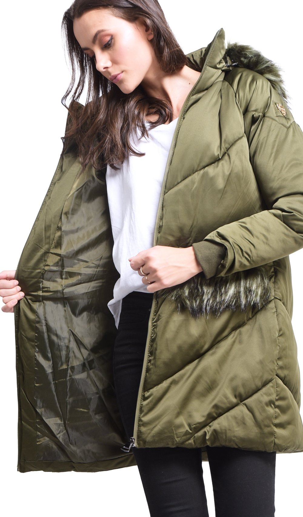 LONG PUFFER JACKET WITH FAUX-FUR INSERT