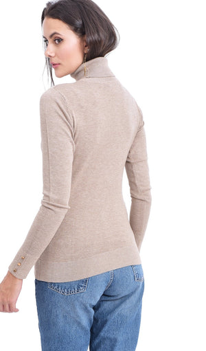 TURTLENECK SWEATER WITH BUTTONS ON SLEEVES