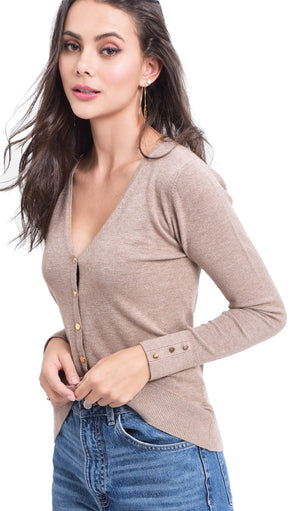 V-NECK BUTTONED CARDIGAN WITH BUTTONS ON SLEEVES