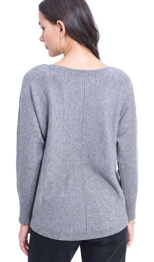 BOAT COLLAR SWEATER WITH BAT SLEEVES