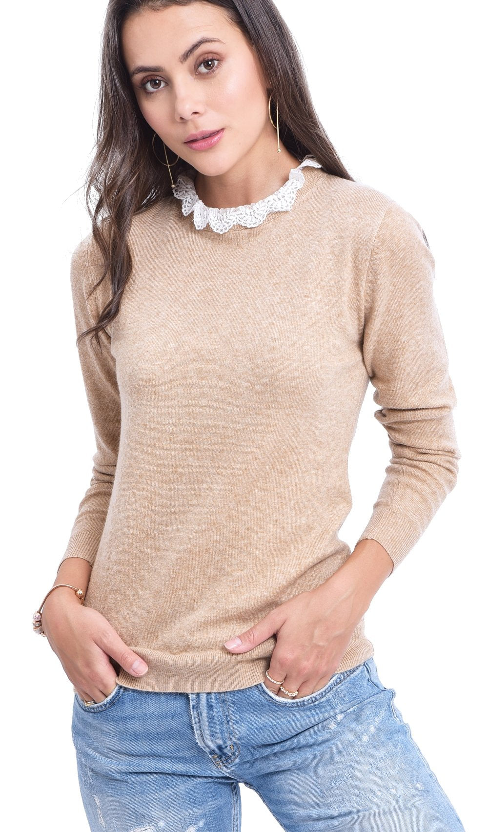 RUFFLED COLLAR IN LACE SWEATER