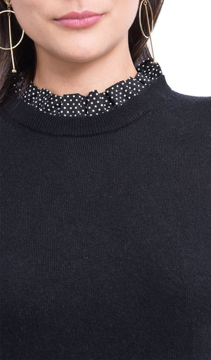 RUFFLED COLLAR WITH POLKA DOTS SWEATER