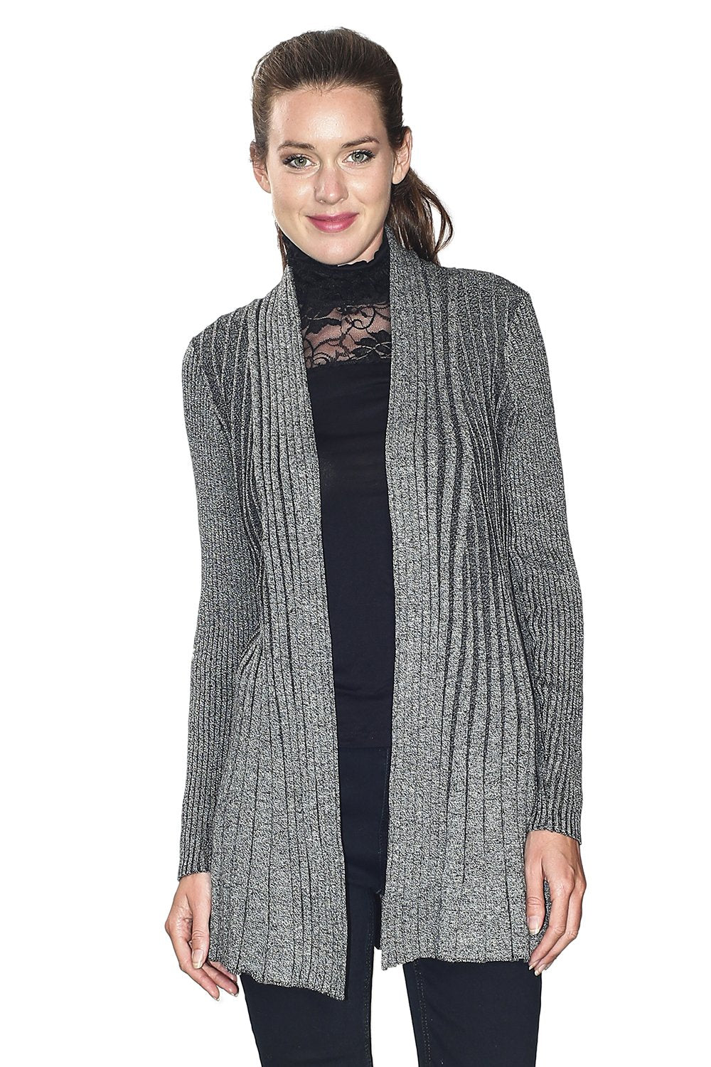 OPEN CARDIGAN WITH TEXTURED MESH (SLIM FIT)