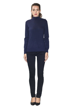 HIGH COLLAR SWEATER WITH BUTTONS ON SHOULDERS