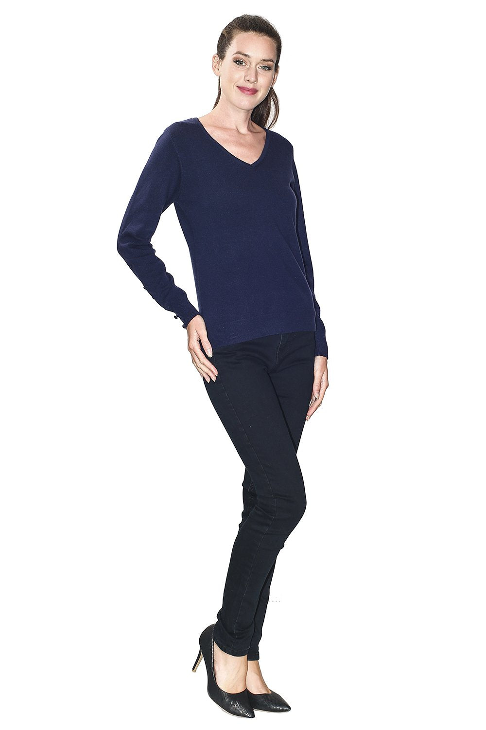 V-NECK SWEATER WITH BUTTONS ON SLEEVES