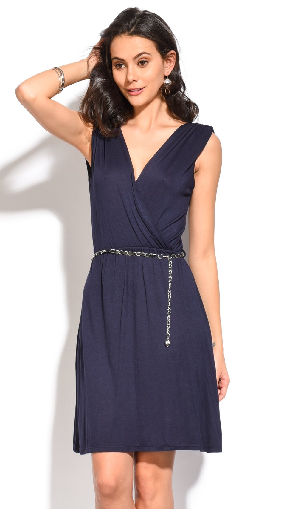 HEART-CACHE DRESS WITH SHORT SLEEVES