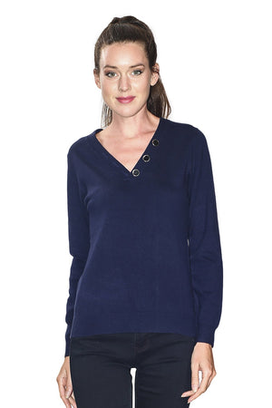 LOW V-NECK SWEATER WITH BUTTONS ON COLLAR