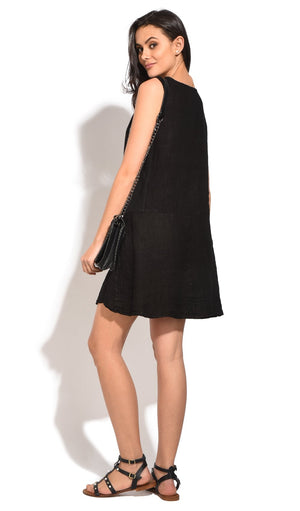 SHORT DRESS WITH ROLLED ROUND COLLAR AND POCKETS