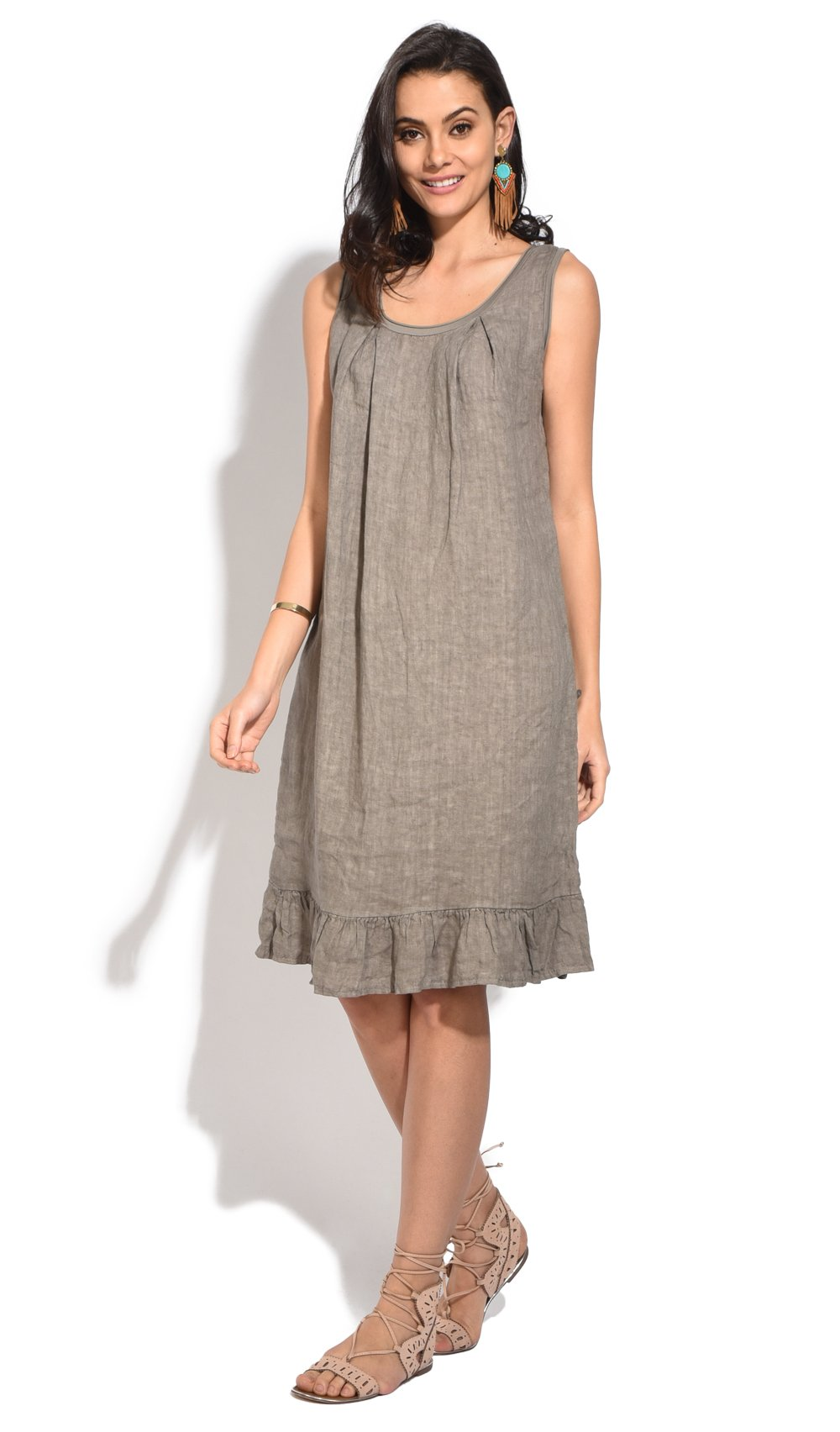 MID-LENGHT RUFFLED DRESS WITH ROUND COLLAR AND FRONT PLEATS