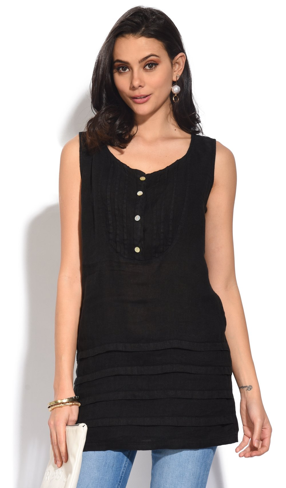 ROUND COLLAR SLEEVELESS TUNIC WITH FRONT PLEATS