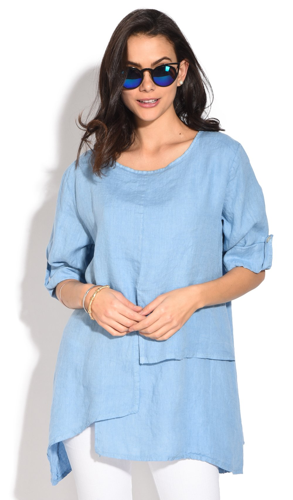 ROUND COLLAR TUNIC WITH MULTIPLE LAYERS