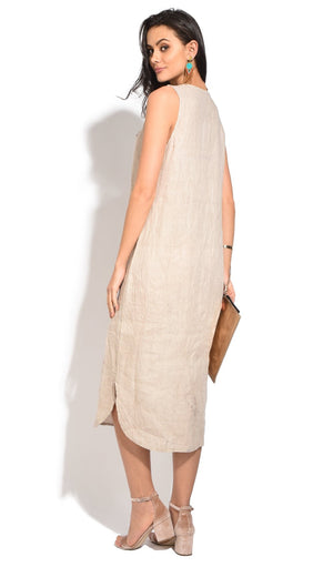 LONG SLEEVELESS DRESS WITH RUFFLED V-NECK