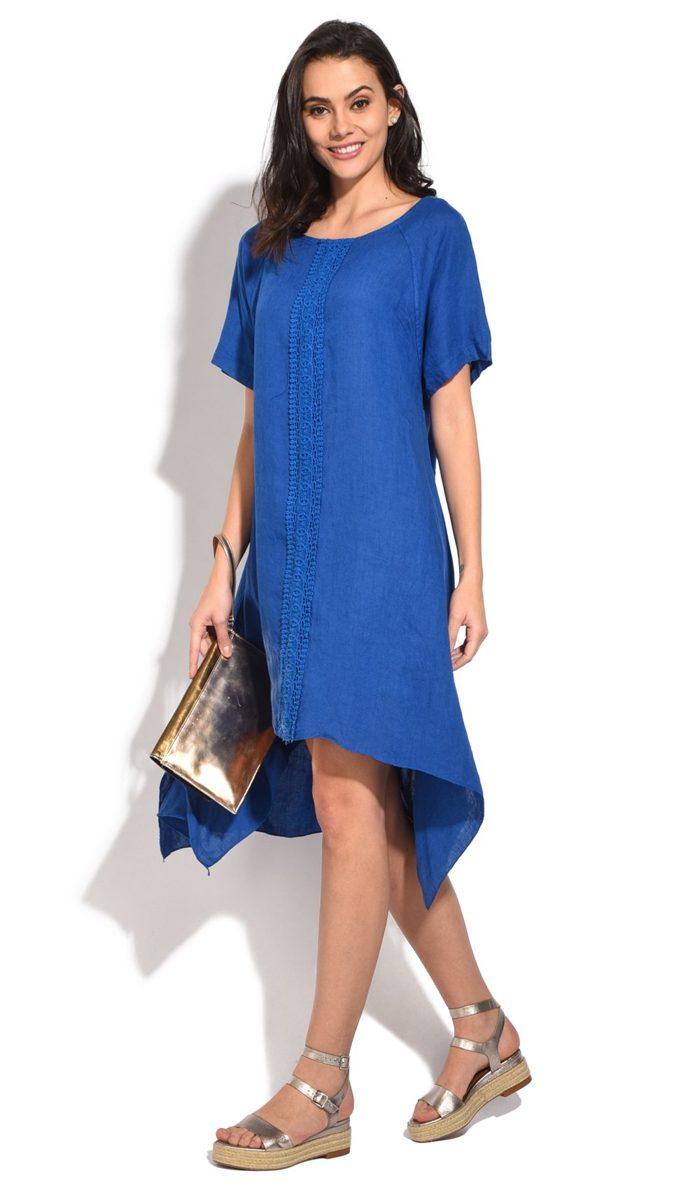 MID-LENGHT TRAPEZE DRESS WITH LACE INSERT AND HALF-SLEEVES
