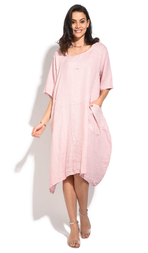 FLUID MID-LENGHT TRAPEZE DRESS WITH HALF-SLEEVES AND POCKETS