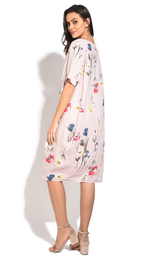 FLUID LONG DRESS WITH FLORAL PRINTS AND ROUND COLLAR