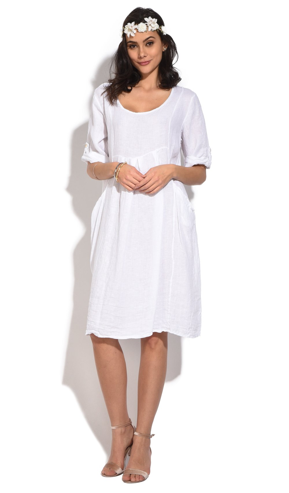 FLUID MID-LENGHT DRESS WITH ROUND COLLAR AND POCKETS