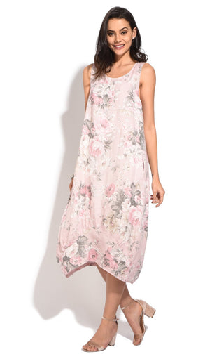 LONG DRESS WITH V-NECK AND FLORAL PRINTS