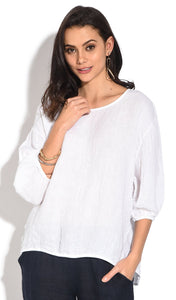 OPENWORK ROUND COLLAR TOP WITH BUTTONED ON THE BACK