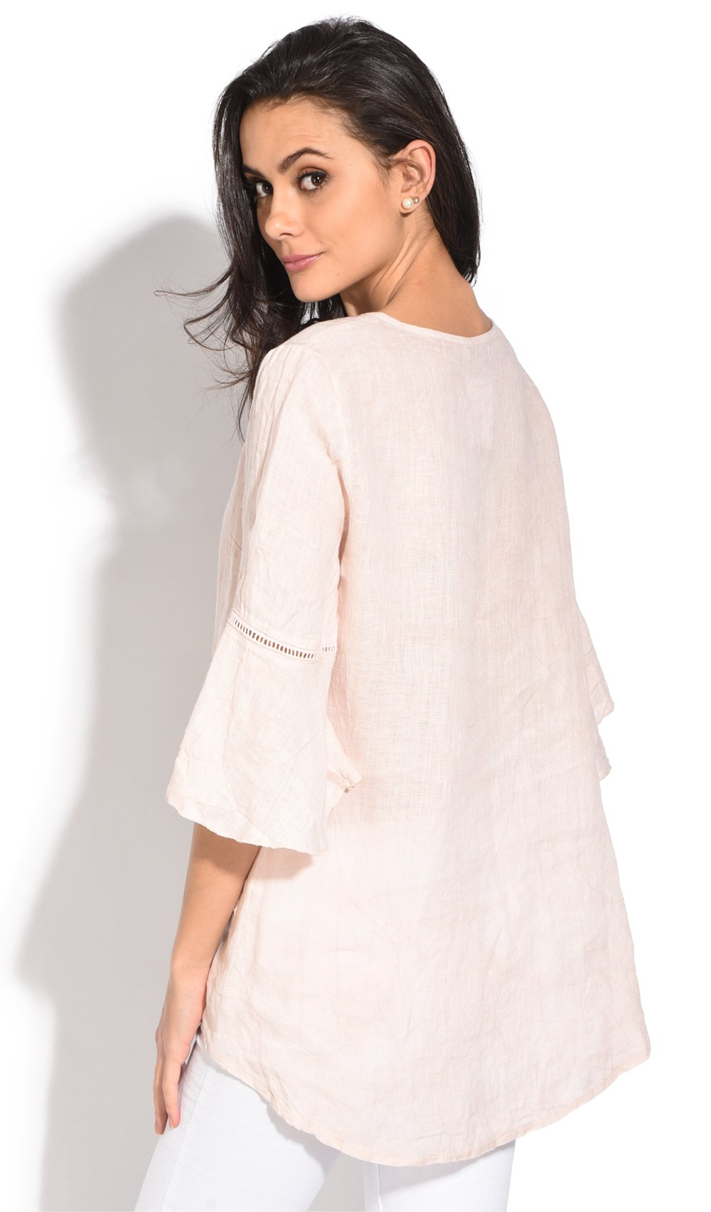 ROUND COLLAR TUNIC WITH LACE INSERT AND RUFFLED SLEEVES