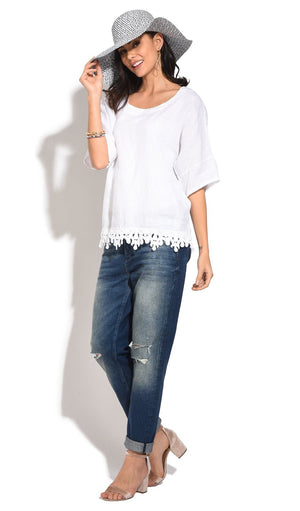 HALF-SLEEVES ROUND COLLAR TOP WITH FRILLY LACE