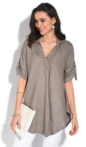V-NECK BLOUSE WITH LONG ATTACHABLE SLEEVES
