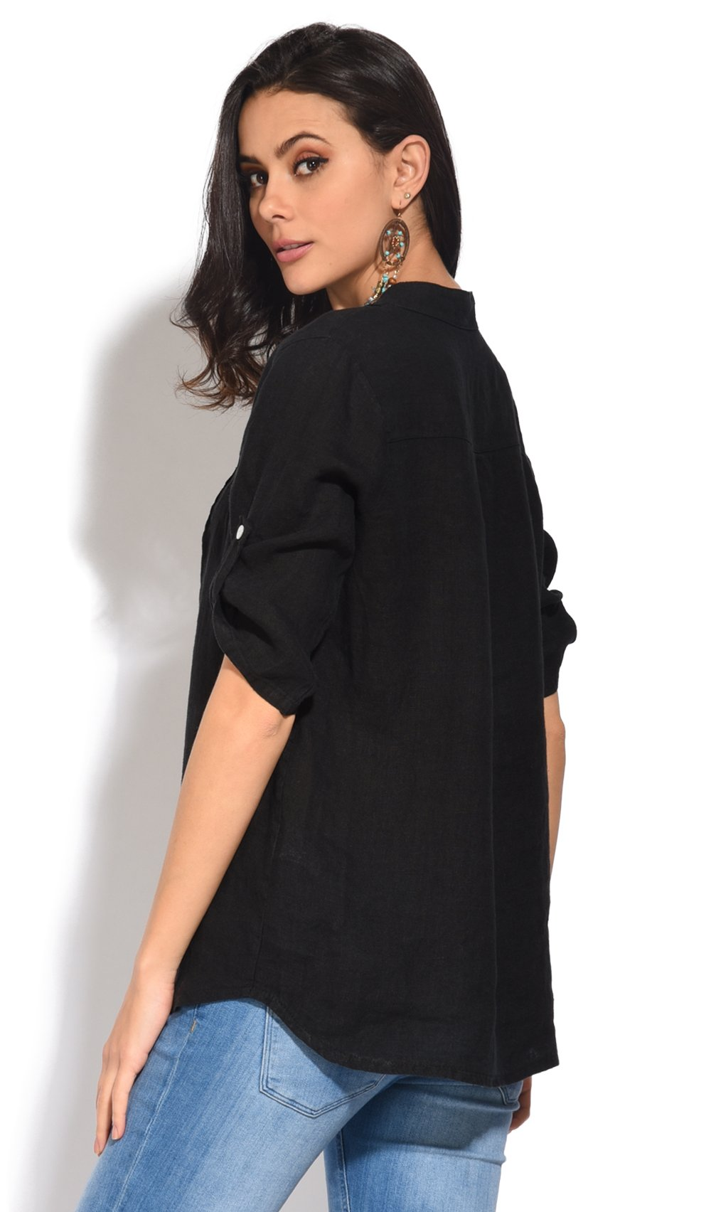 BUTTONED TUNISIAN COLLAR TOP WITH FRONT PLEATS
