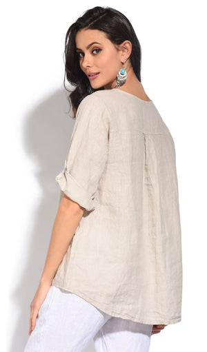 TUNISIAN COLLAR TOP WITH LONG ATTACHABLE SLEEVES