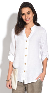 TUNISIAN COLLAR BUTTONED BLOUSE WITH LONG ATTACHABLE SLEEVES