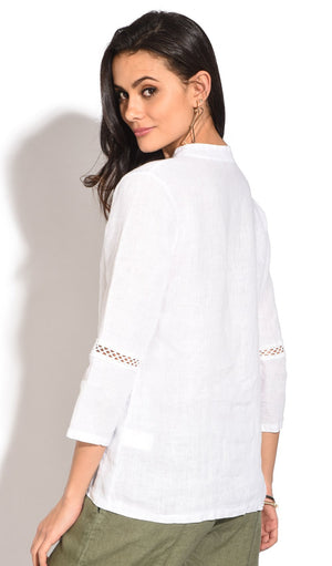 TUNISIAN COLLAR TUNIC WITH LACE INSERT AND 3/4 SLEEVES
