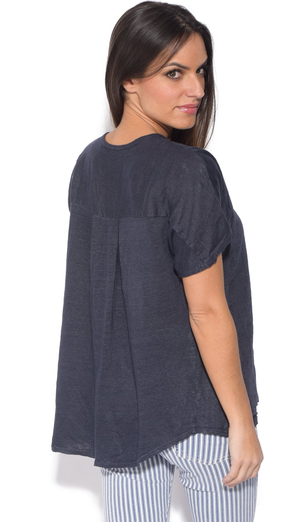 BI-MATERIAL V-NECK TOP WITH BACK PLEATS AND SHORT SLEEVES