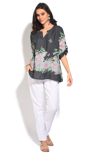 TUNISIAN COLLAR TOP WITH FLORAL PRINTS