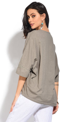 BI-MATERIAL ROUND NECK TOP WITH BAT-SLEEVES