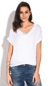 LACED V-NECK TOP WITH SHORT SLEEVES