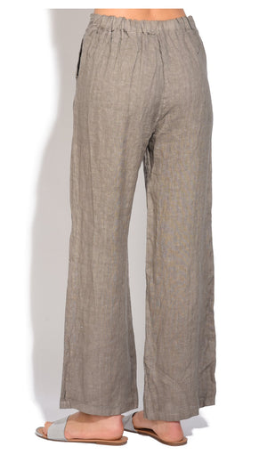 FLUID STRAIGHT CUT PANT WITH POCKETS AND ELASTIC WAISTBAND