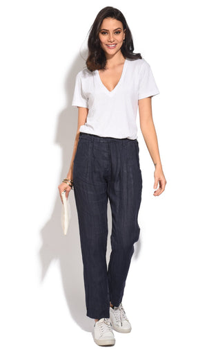 FLUID FITTED CUT PANT WITH POCKETS AND ELASTIC WAISTBAND