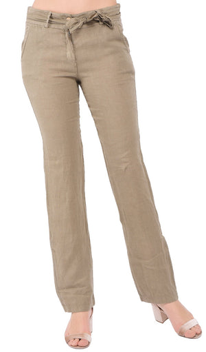 SLIM FIT PANT WITH POCKETS AND SCARF BELT