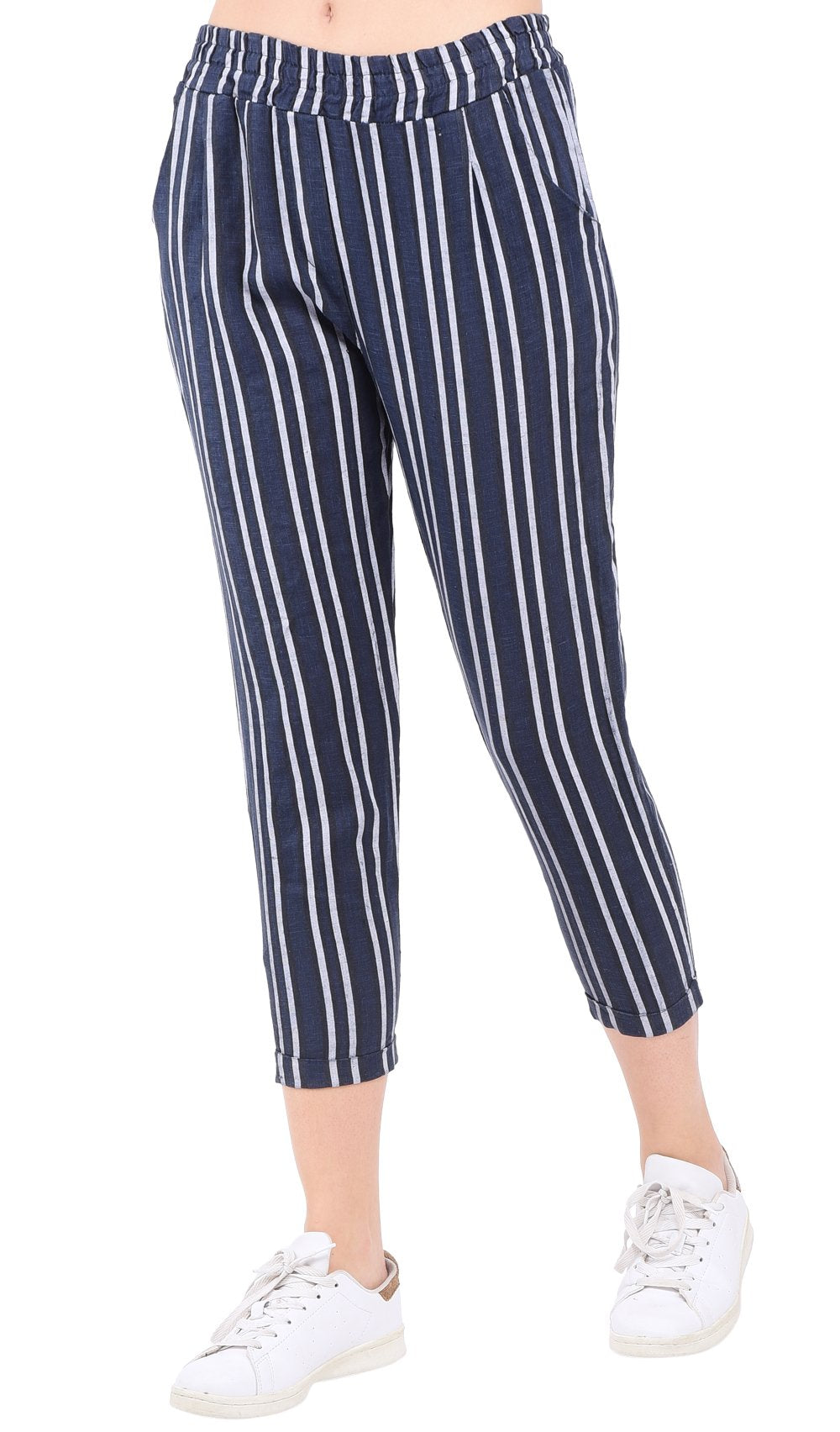 STRIPPED SLIM FIT CROPPED PANT WITH POCKETS AND ELASTIC WAISTBAND