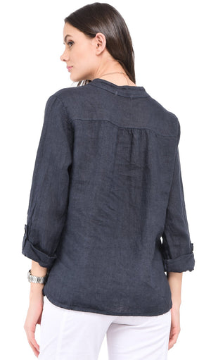 BUTTONED TUNISIAN COLLAR BLOUSE WITH FRONT POCKETS