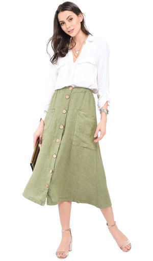 LONG BUTTONED SKIRT WITH POCKETS AND ELASTIC WAISTBAND