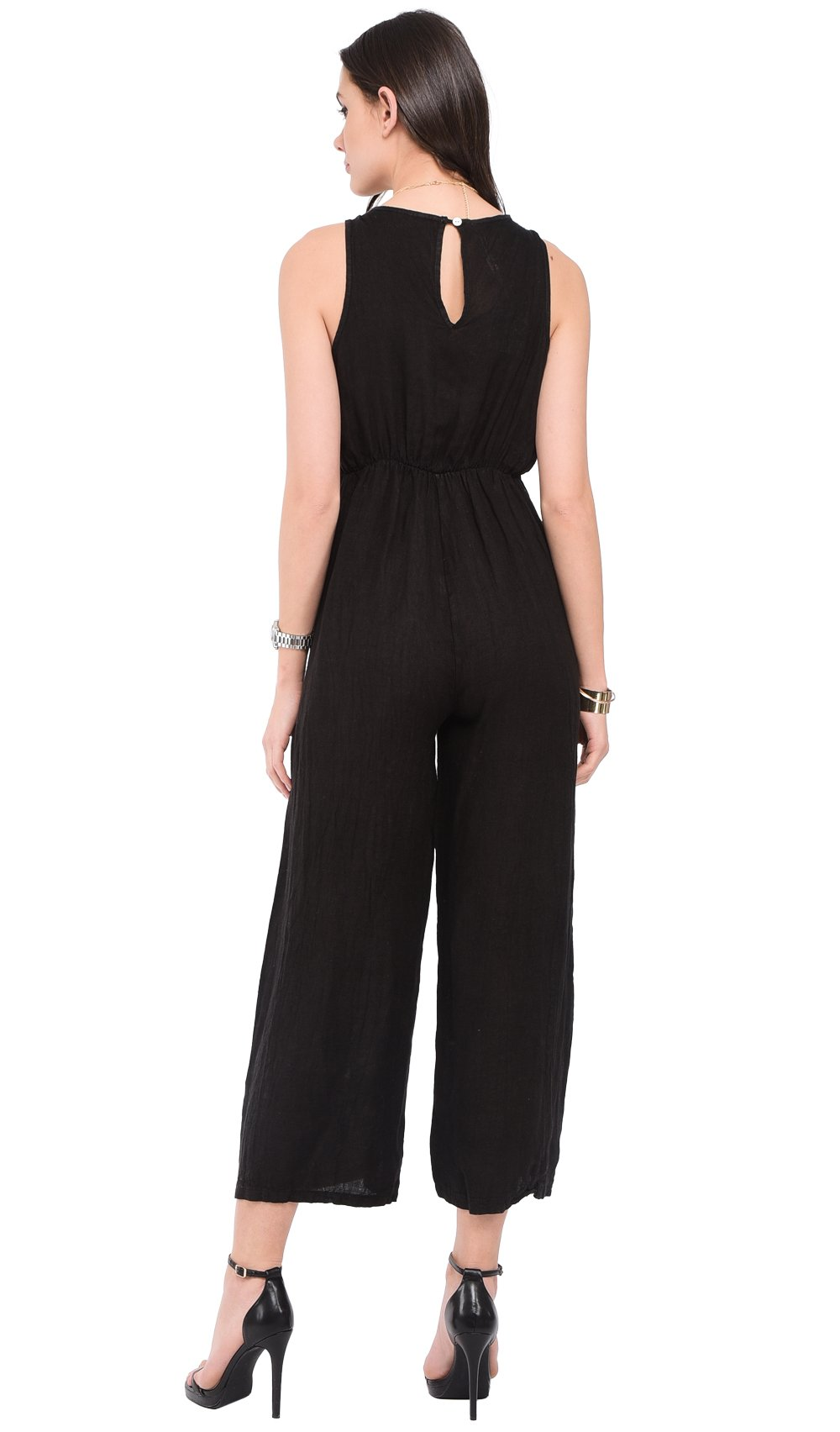 FAKE HEART-CACHE JUMPSUIT WITH BACK OPENING AND POCKETS