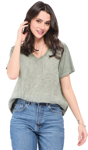 V-NECK FADED TOP WITH SHORT SLEEVES