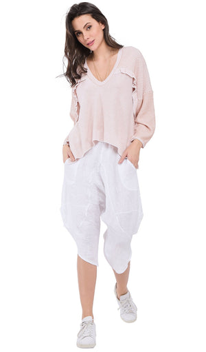 SAROUEL CROPPED PANT WITH POCKETS AND ELASTIC WAISTBAND