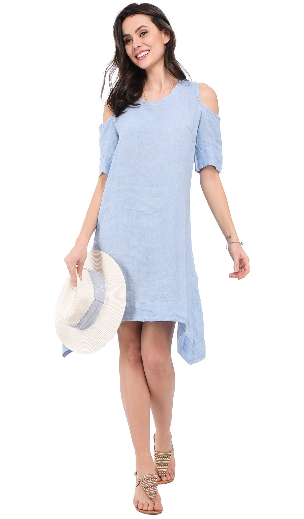 MID-LENGHT FADED DRESS WITH ROUND COLLAR AND OPENED SHOULDERS