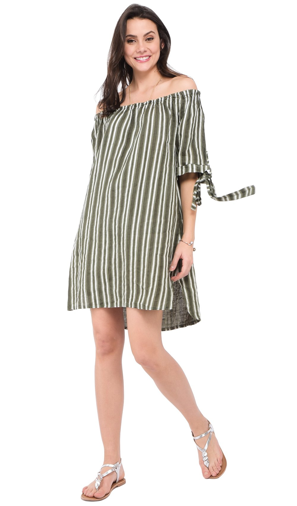 SHORT STRIPPED DRESS WITH BOAT COLLAR AND KNOTTED HALF-SLEEVES
