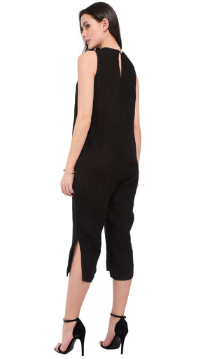 ROUND WATER DROP COLLAR JUMPSUIT WITH POCKETS AND LATERAL LEGS OPENING