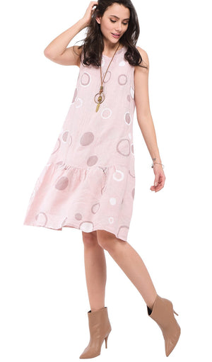 MID-LENGHT ROUND COLLAR DRESS WITH PRINTS AND RUFFLED BOTTOM