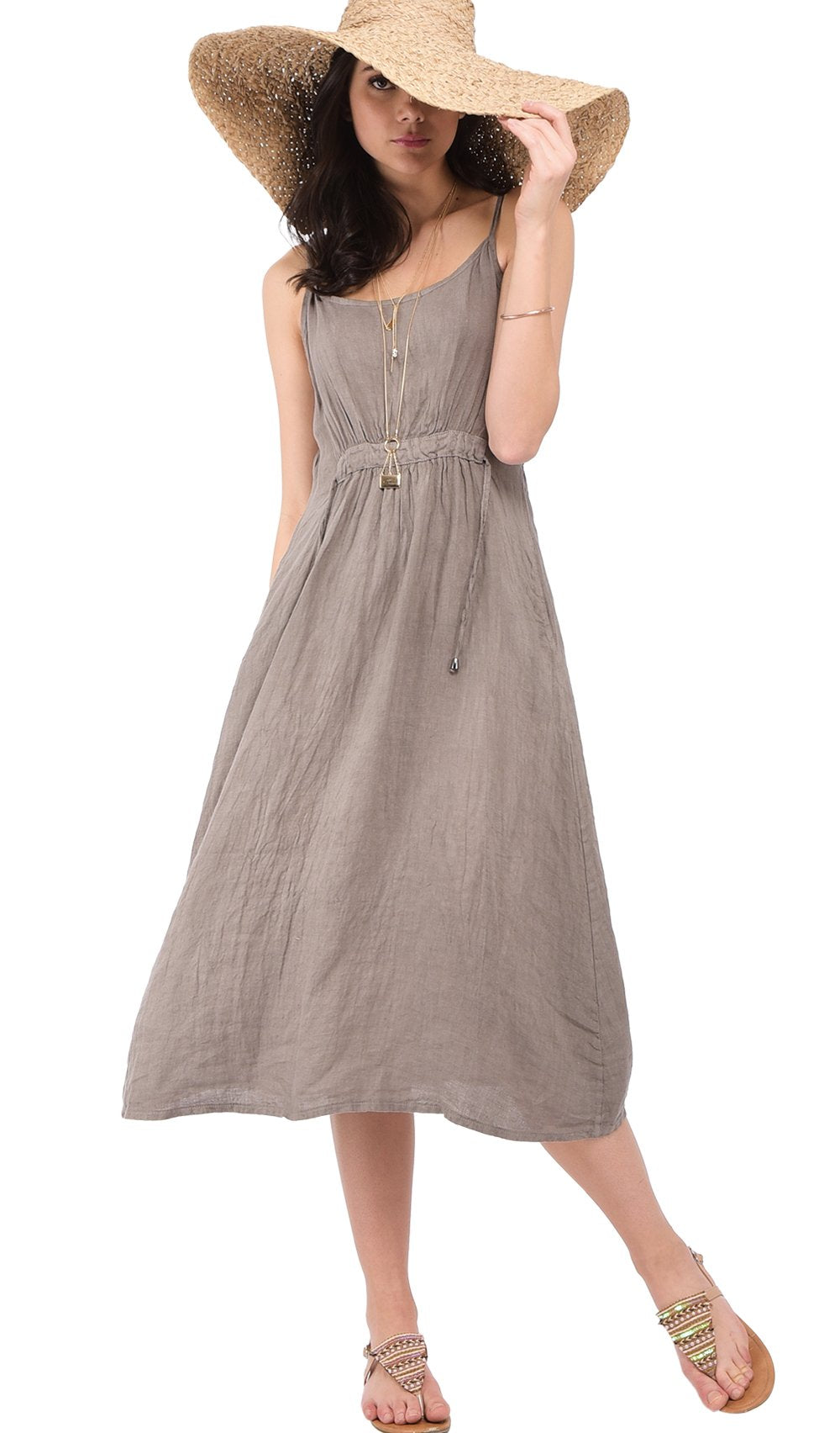 LONG STRAPPED DRESS WITH FRONT LACING AND POCKETS