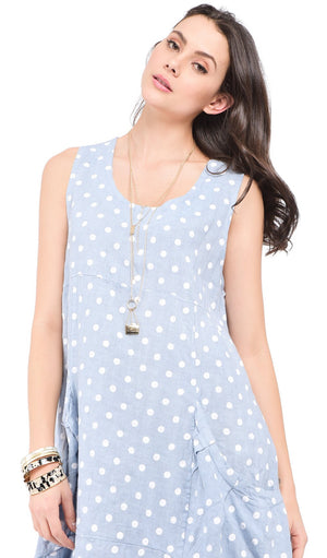 MID-LENGHT ROUND COLLAR DRESS WITH POCKETS AND POLKA DOTS PRINTS