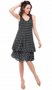 MID-LENGHT V-NECK DRESS WITH POLKA DOTS PRINTS AND DOUBLE-RUFFLES